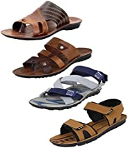 Super Men's Multicolor Combo Pack of 4 and Casual Wear Canvas Sandals &