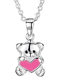 Mon-bijou–hc128–Collar oso corazón de plata 925/1000