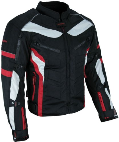 Heyberry Textil Motorrad Jacke Motorradjacke Schwarz Rot Gr. XL (Rot Motorrad-jacke)