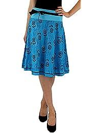 Damen Falten/ A-Linie Rock im Flower Look mit elastischem Bund und verschiedenen Farben S&LU Gr.: S - XL (34 - 40)