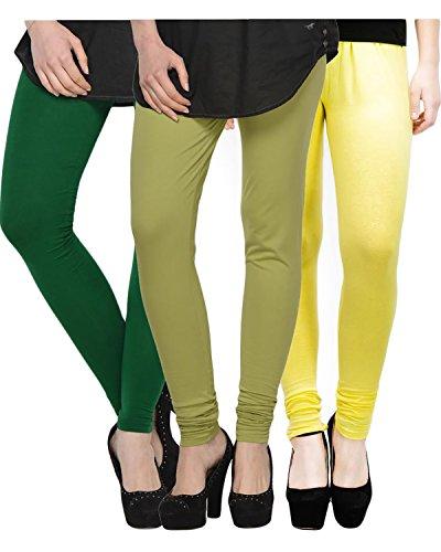 Kjaggs Women's Cotton Lycra Regular Fit Leggings Combo - Pack of 3 (KTL-TP-15-16-11, Green, Mehandi Lemon)