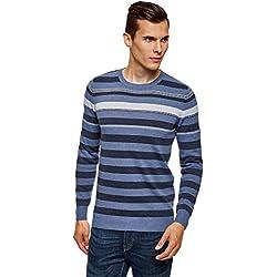 oodji Ultra Hombre Jersey Básico a Rayas, Azul, ES 52-54 / L