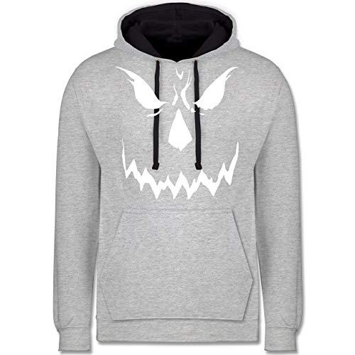 Shirtracer Halloween - Scary Smile Halloween Kostüm - XXL - Grau meliert/Navy Blau - JH003 - Kontrast Hoodie