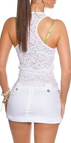 Damen Top, Tank Top einfarbig und figurbetonend mit der Rückeite aus weichem, elegantem Spitzemuster (34-36) Weiß
