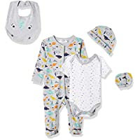 Lilly And Jack Dino Theme for Baby Boys, 3-6 Months - Multicolour (Grey Marl), Pack of 5