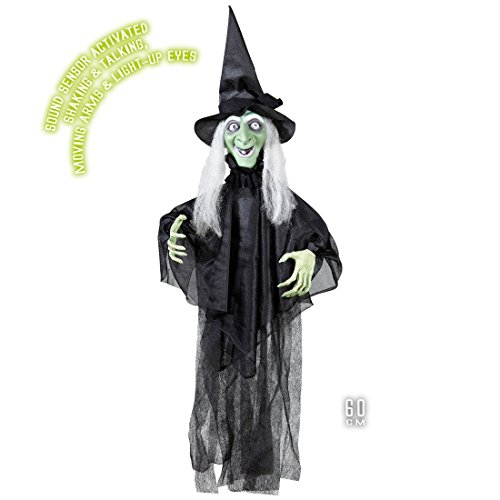 NET TOYS Sprechende Halloween Hexe Dekofigur Hängedekoration mit bewegbaren Armen Deko Hexenfigur Waldhexe Dekoration ()