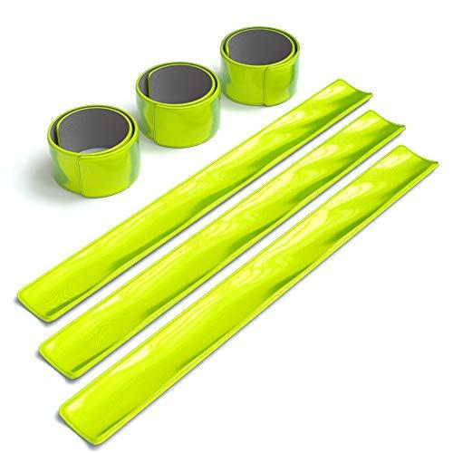 EAZY CASE 6X Reflektorband, Reflektoren Set, reflektierendes Schnapparmband, Sicherheitsarmband, Reflektorenbänder - ideal zur Erhöhung der Sichtbarkeit, nach DIN EN 13356, Neon Gelb
