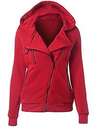 CHENGYANG Sweats à Capuche Manches Longues Hoodie Top uni pull zippé casual Jumper Hauts Veste Automne sport sweat-shirt femme