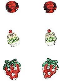 Clous d'Oreilles Rouges en Argent 925 en Forme de Solitaires, Cupcakes et Fraises - Set de 3