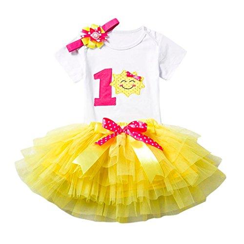 Baby Kleid Huhu833 3 Stücke Baby Mädchen Geburtstag Cartoon Print Tutu Röcke + Overall + Stirnband Set Outfits (Gelb, 12M) - 12mo Einem Stück