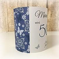 4er Set Tischlicht Tischlichter Schmetterlinge runder Geburtstag 40 50 60 70 80 90 Tischdeko personalisierbar blau dunkelblau marine