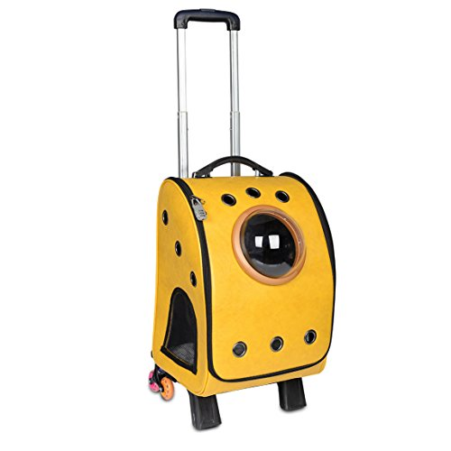 Kaka mall New Large Portable PU Leather Cat Trolley Carrier, Sturdy Removable Multifunctional Puppy Backpack Carrier with Wheels for Small Dogs, Yellow (Pet Less Than 10KG)