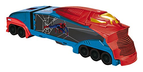 Majorette 213089714 - Spider-Man Spider Car Trailer, mit 2 Autos, Maßstab ()