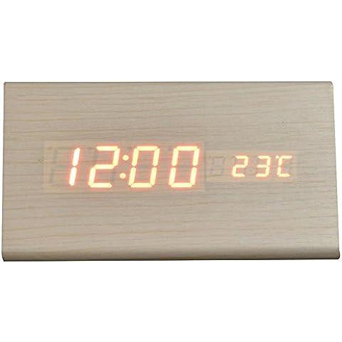 Creative ZHGI salón moderno y simple de madera, reloj despertador, reloj digital, luz nocturna silencio relojes de cabecera ,
