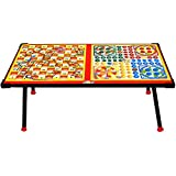 Avani MetroBuzz Wooden Ludo,Snakes & Ladders Printed Foldable Study Table (Big)