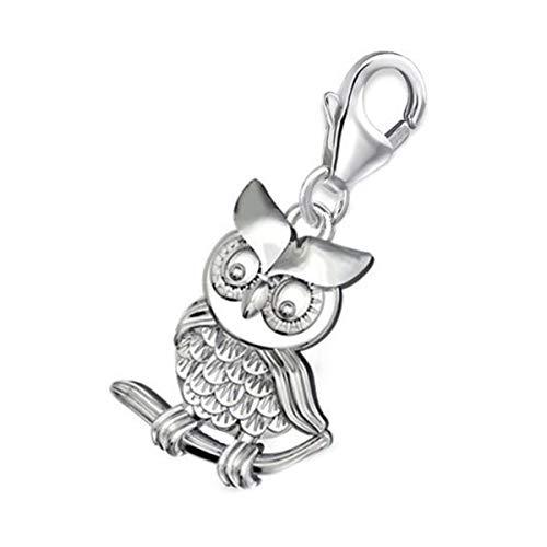 Charms Anhänger für Bettelarmband 925 Echt Silber Kinder Mädchen Damen Sterlingsilber (Eule 16x13mm)