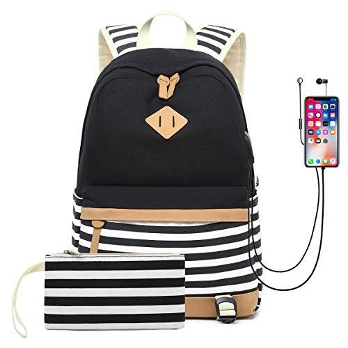 DNFC Schulrucksack Canvas Rucksack mit USB-Ladeanschluss Leinwand Gestreifte Tasche Daypack Backpack Schultaschen mit Großer Kapazität Freizeitrucksack für Teenager Mädchen Jungen (Schwarz) - Gestreifte Leinwand