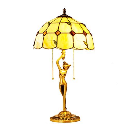 LXQIY E27 Tiffany-Stil Tischlampe Europäischen Retro Mediterranen Tischlampe Schmiedeeisen Glas Schlafzimmer Nacht Wohnzimmer Korridor Dekoration Dekorative Lampe Göttin Halterung Lampe - Traditionelle Badezimmer Halterung