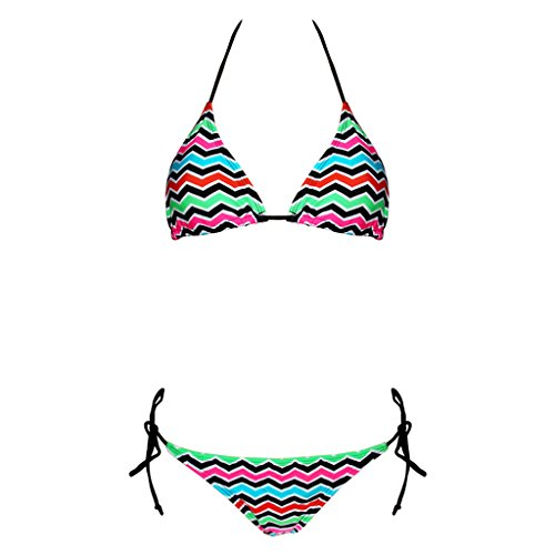 Haodan electronics Colorful Striped Bikini Swimsuit, Sexy Slim European and American Triangle Hot Spring Bathing Suit Swimsuit
