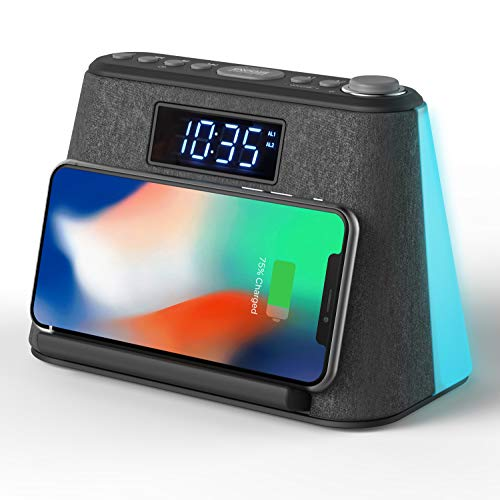 Alarm Clock Bedside Non Ticking with USB Charger & Wireless QI Charging, Bluetooth Speaker, FM Radio, RGB LED Night Light, Dimmable Display and White Noise Machine - Mains Powered with Battery Backup
