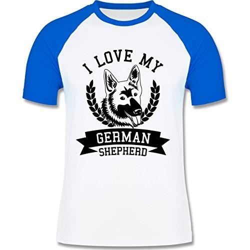 Hunde - I love my German Shepherd - zweifarbiges Baseballshirt für Männer  Weiß/Royalblau