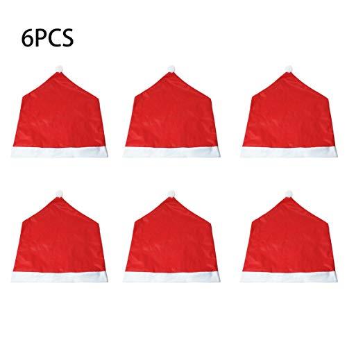 Kongqiabona 6 Stücke Weihnachten Stuhlabdeckung Weihnachtsmann Kappe Chaircase Dinner Party Red Hat Stuhl Abdeckung Weihnachtsdekoration Haus Ornament - Red Dinner-stühle