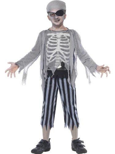 Piratenkostüm Kostüm Skelett Pirat Skelettkostüm für Jungen Halloween Jungenkostüm Halloweenkostüm Gr. 110-122 (S), 128-134 (M), 140-158 (L), (Piraten Kostüme Skelett)