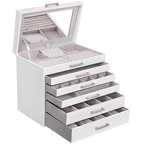 SONGMICS Schmuckschatulle groß Schmuckkästchen 6 Ebenen mit 5 Schubladen Spiegel Weiß JBC138