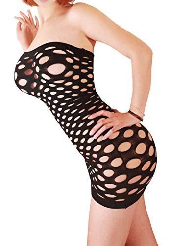 Creamlin Sexy Dessous für Frauen Nahtlose Mesh Chemise Dessous Baby Doll Minikleid One Size (Schwarz) -