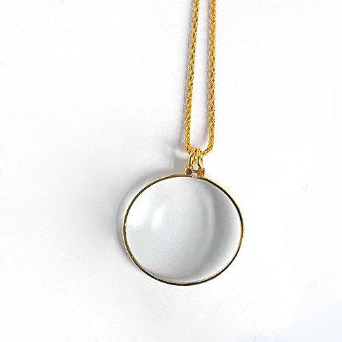 Preisvergleich Produktbild Handlupe Klassische Lupe Glas Konvexlinse Alter Mann Lesebrille 6X Dame Halskette Lupe Goldfarbe Anhänger Breite 42Mm Halskette 900Mm