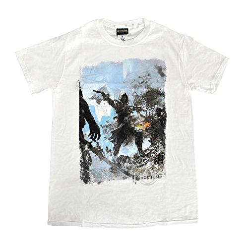 Assassins Creed IV - Fighting Stance T-Shirt weiß Black Flag Shirt Herren Ezio Motiv Weiß