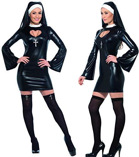 Party-Teufel Komplett Kostüm Sexy Nonne mit Kleid Nonnen Haube Overknee Strümpfe Kreuzkette Gr. M Damen Nonnenkostüm