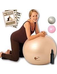 NBF Ballon d'accouchement, Ballon de Gymnastique Pour la Grossesse Avec guide d'instructions. 65cm Or pâle