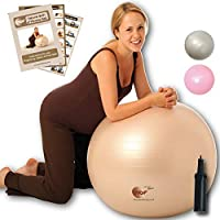 Natural Birth & Fitness Birthing Ball & Pump - NBF Anti-Burst Birth Ball with Instruction Guide for Pregnancy & Labour. 65cm Pale Gold