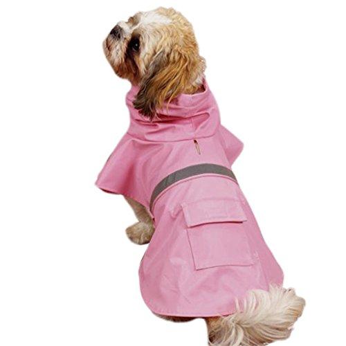 O & C Pet Regenmantel Dog Zupfbürste Gear Brite Regen Jacken Hund Katze mit Kapuze mit reflektierendem Band Multi Farbe für Wahl (Pink, XS Rückseite: 25,4cm (25cm)) -