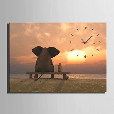 Y & M moderne/contemporain animaux horloge murale, rectangulaire tela35 x 50 cm (14inchx20inch) x1pcs/40 x 60 cm (16inchx24inch) x1pcs/50 x 20\