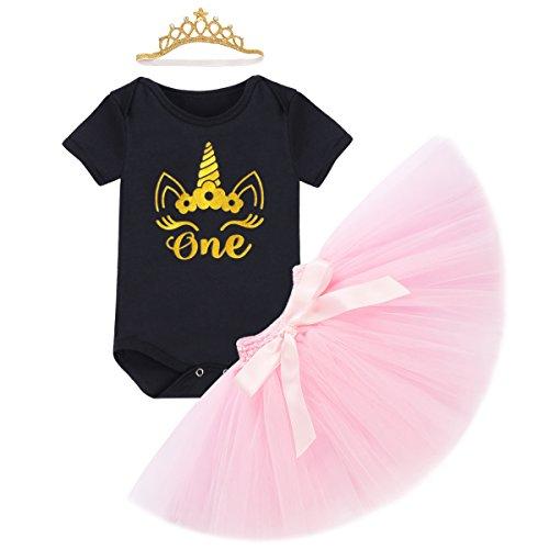 Baby Mädchen 1. Geburtstag Tutu Kleid Set Romper + Rock Tütü Pettiskirt + Krone Stirnband Geschenk Säuglings Prinzessin 3 Stück Outfits Verkleidung Fotoshooting Kostüm (Cinderella Maus Halloween Kostüm)