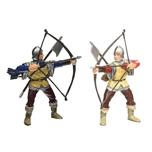 Papo Bogenschütze rot und Bogenschütze blau 2er Ritter-Figuren Bogenschützen-Set 39385 39384
