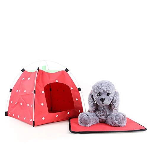 YYZ Letto per Animali Tenda, morbido removibile Portatile Impermeabile All'aperto e al coperto Tenda Delle Case di animali domestici Cane Gatto che gioca a letto- 4 stagioni,Red