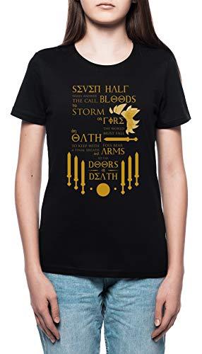Das Prophezeiung Von Sieben Damen T-Shirt Rundhals Schwarz Kurzarm Größe L Women's Black T-Shirt Large Size L (T-shirt Nico)