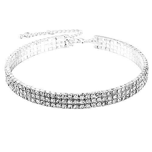 MJARTORIA Damen Halskette Silber Farbe Choker Tattoo Kette mit CZ Kristall Anhänger Pullover Kette