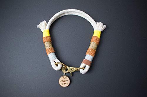 Hunde Halsband CALIMERO aus Baumwolltau mit Leder & Scherenkarabiner (für kleine bis große Hunde, Silber, Gold, Gelb)