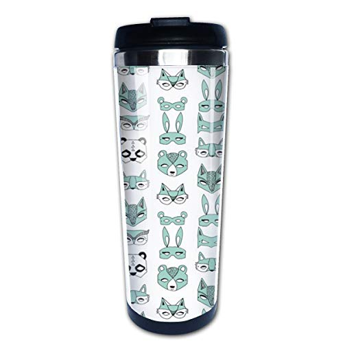 Animal Masks Mint Kids Cute Mask Play Time Dress Up Multi Insulated Stainless Steel Travel Mug 14 oz Classic Lowball Tumbler with Flip Lid Thermos Nissan Travel Tumbler