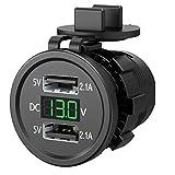 TXYFYP Adattatore per caricabatteria per Auto, Presa di Corrente per Auto Doppia USB Impermeabile 12-24V DC con voltmetro Digitale a LED, per Auto, Barca, Moto, roulotte, Camion (Rosso)