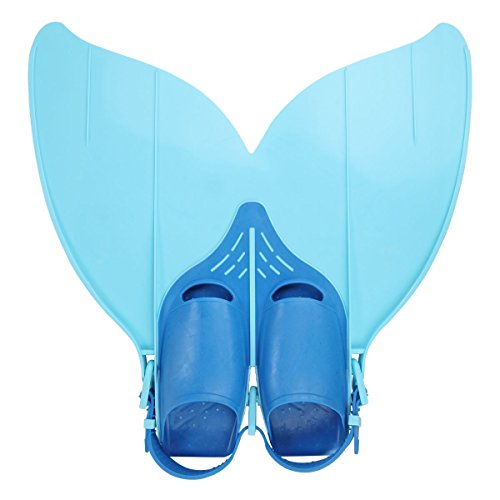 Besmall Jugendliche Flossen Trainingsflossen Schwimmen Flossen Monoflosse Taucherflossen Monofin(Blau)