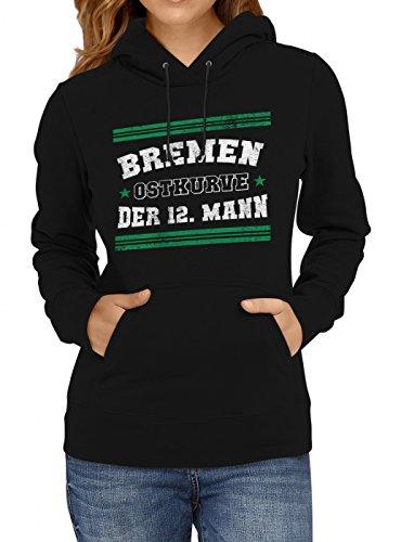 Shirt Happenz Bremen #1 Premium Hoodie | Fussball | Fan-Trikot | #Jeden-Verdammten-Samstag | Frauen | Kapuzenpullover, Farbe:Schwarz;Größe:S (Spaß Training Kleidung Frauen)