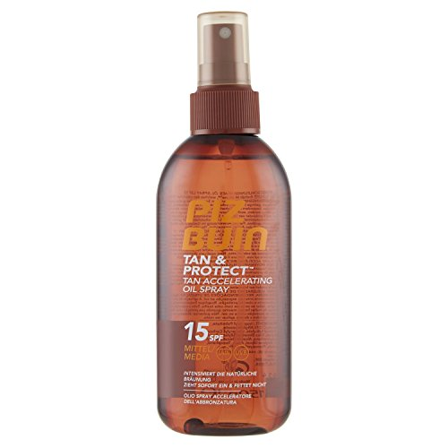 PIZ BUIN Tan & Protect Tan Accelerating Oil Spray, Bräunungsintensivierendes Öl-Spray, LSF 15, 1 x 150 ml
