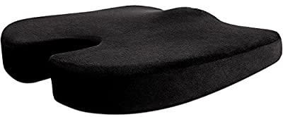 [pricebust] Orthopedic Memory Foam Seat Cushion Black For Back Support, Sciatica Pain Relief, Tailbone, Coccyx, Hip Pain, Ideal Pillow Booster For Office Chairs, Recliner, Wheelchair, Trucks & Cars - cheap UK light store.