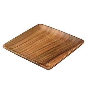 Woodware-Assiette carrée - 25 cm en bois d'acacia natchez
