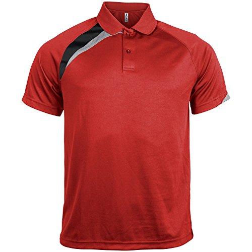Kariban Proact Herren Kurzarm Quick Dry Polo Shirt Schwarz/Weiß/Grau